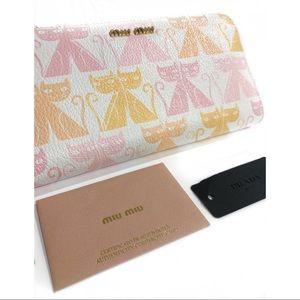 Miu Miu Bags - MIU MIU - NWT Cat Print Leather Zip Wallet